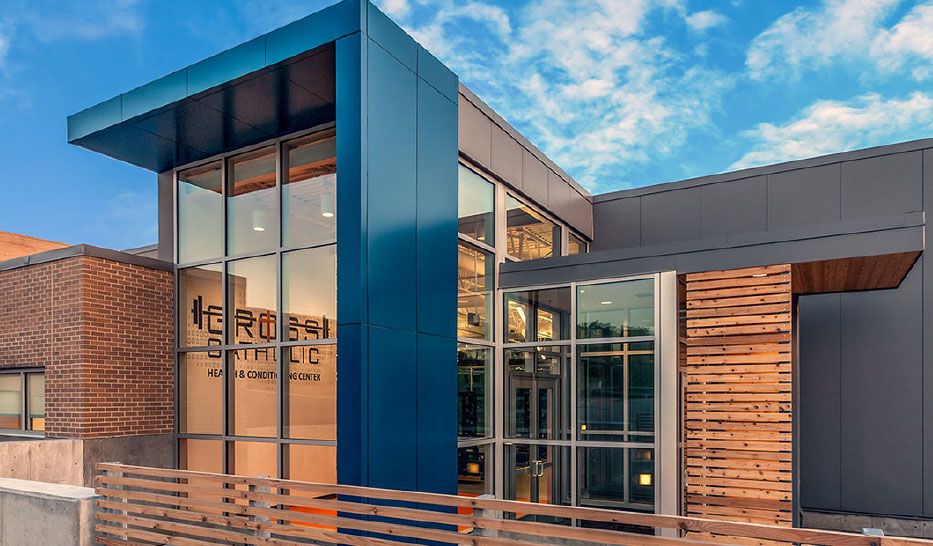 Architecture design of the exterior of Gross Catholic High School Health and Wellness Center in Nebraska.