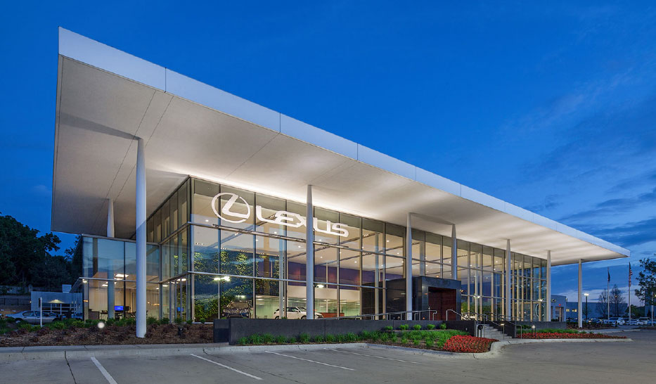 Architecture design of exterior of the Lexus of Omaha auto dealership in Nebraska.