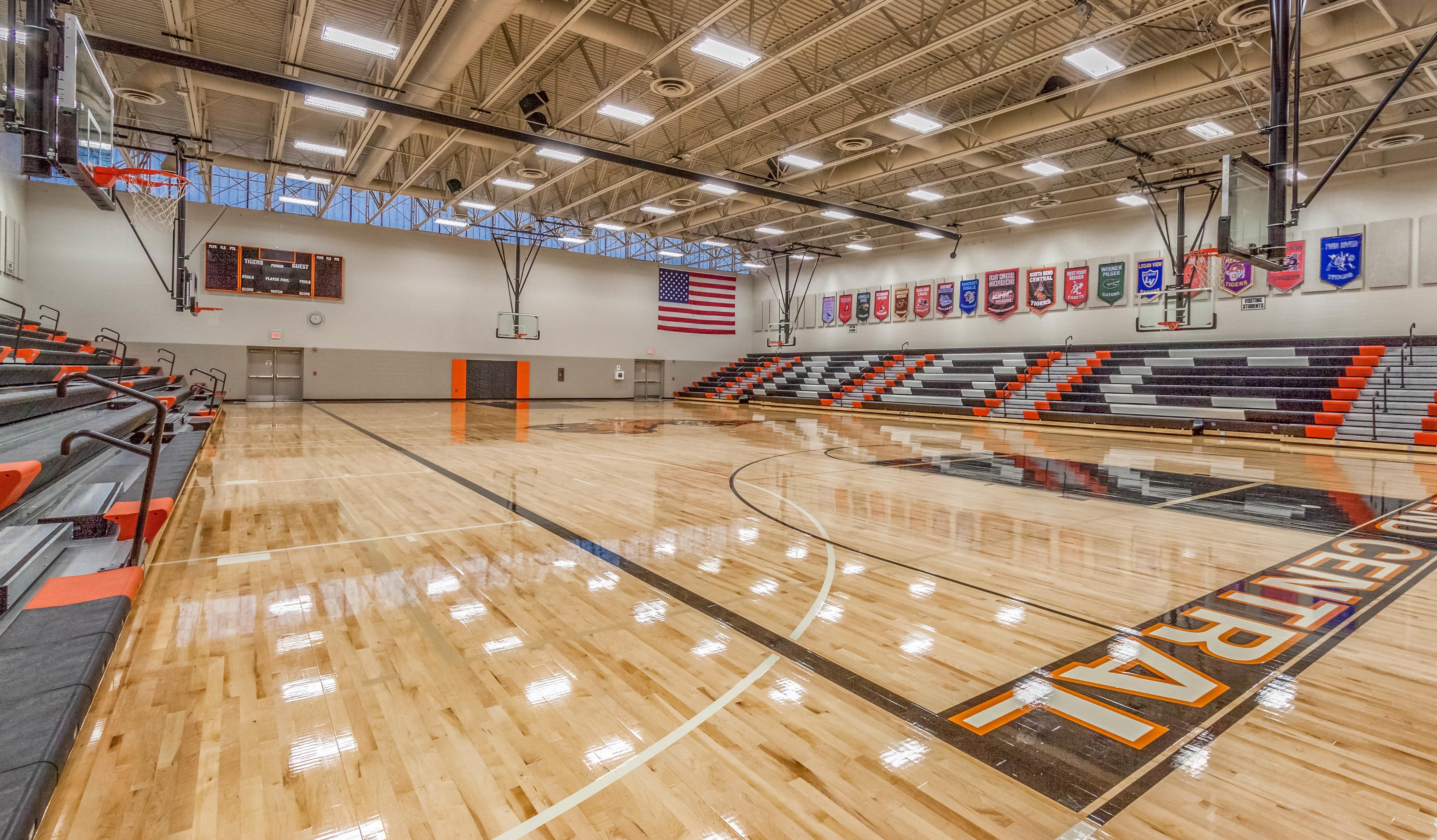 Architecture design of North Bend Central High School gymnasium in Nebraska.